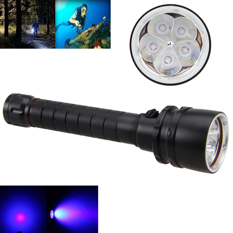 30W 390nm 5 x UV LED Underwater 100m Diving Dive Scuba Flashlight Lamp by 2x18650 Torch without Battery<br><br>Aliexpress