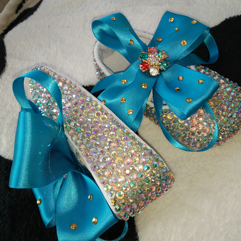 free shipping blue bowknot AB rhinestone Crystal Baby Girls shoes handmade Bling Bling diamond soft First Walkers flowers shoes<br>