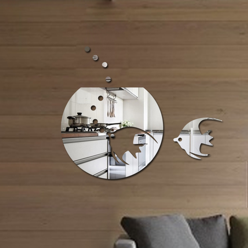Free shipping acrylic tropical fish wall decoration decal 1MM thick plastic mirror home decoration for bathroom mirror sticker(China)