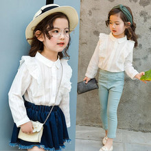 DFXD Spring Korean Baby Girls White Cotton Full Sleeve Lace Turn Down Collar Princess Blouse Girls Party Blouse Top Shirt 2-8Y