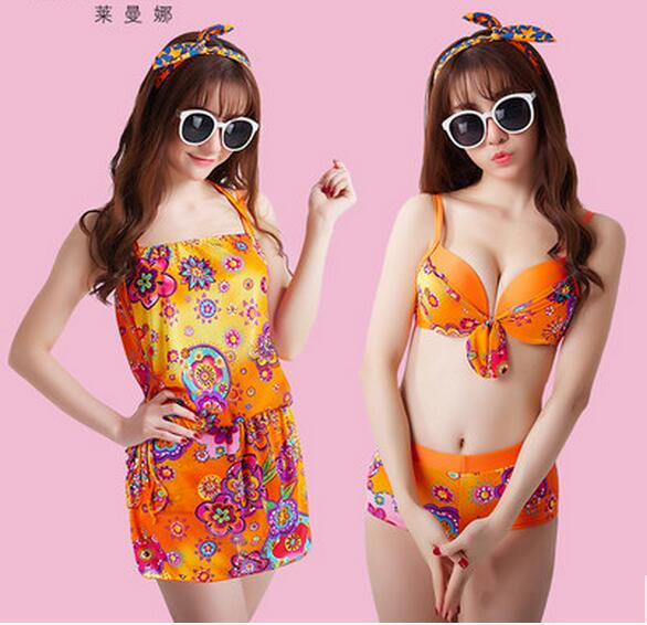 Top quality New arrival Bohemia style sexy bikini three-piece suit with breast pad<br>
