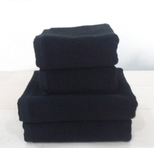 Free Shipping 3pc/set top quality cotton black bath towel set super soft luxury hotel towel set bathroom towel sets