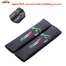 High practicability 2pcs/lot carbon fiber PU safety Car Seat Belts Padding Cover & Pad Auto accessories seat belt for Italy logo(China)