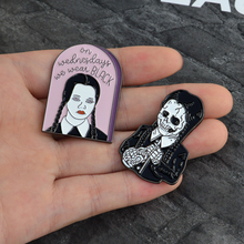 QIHE JEWELRY The Addams Family Inspired Wednesday Addams Enamel Pin We wear black,skeleton pins Punk pin Goth jewelry(China)