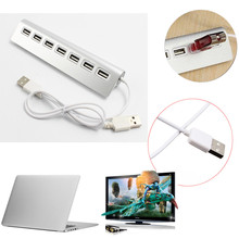 Aluminum 7 Ports USB 2.0 External Hub Adapter for PC Laptop Notebook(China)