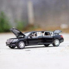 1:24 Scale Maybach S600 Pullman Metal Alloy Vehicle Model Sound & Light Pull Back Diecast Car 6 Doors Opened(China)