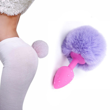 Buy Cosplay Rabbit Girl Sexy Costumes Plush Tail Adult Butt Plug Silicone Anal Insert Stopper Erotic Toys Sex Accessories Couple