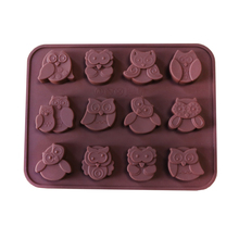 The New 12-hole Owl Shape Food Grade Silicone forms Chocolate Cake Mold Candy, Jelly, Lollipop Molds Diy Fondue Baking Tools(China)