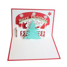 Merry Christmas 3D Pop-up Christmas Tree Greeting Cards For Gift Collection Congratulation Card Handcraft (Red)(China)