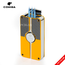 COHIBA Yellow Black Classic 3 Torch Windproof Butane Gas Refrillable Jet Flame Cigar Lighter W/ Built-in Cigar Punch New Design