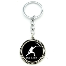 Trendy round fencing sports events keychain fashion men jewelry monchichi sleutelhanger father's gift husband,father jewelry