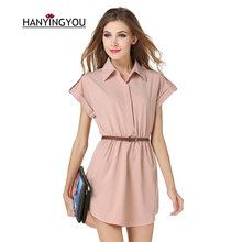 2017 new summer women Turn-down/polo collar Short Shirt dress with the Sashes A-Line mini dress for work female