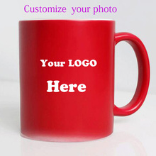 Drop shipping DIY Photo Magic Color Changing Coffee Mug  custom your photo on Tea cup  Red color  as a gift 11OZ