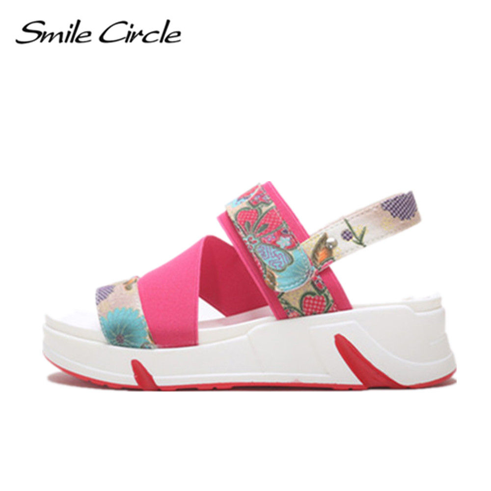 Smile Circle 2017 Summer Style Sandals For Women Shoes Fashion Flower Platform Sandals Casual Open Toes Shoes slipper 1104<br>