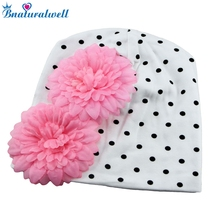 Bnaturalwell Baby Big flower Beanies Toddler girls hat Kids flower beanie hat Cotton cap 1pc H361