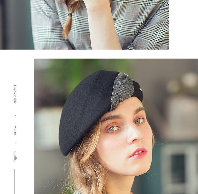 Elegante femmina 100% lana scozzese britannico nero cappello fedora in stile  inglese vintage inverno donna feltro francese berretto cappelli osso  femminile a8efbbfed624