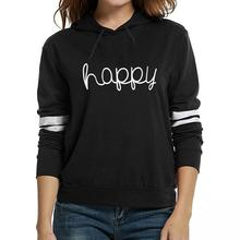 2017 New Fashioh Casual Happy Letter Print Hoodies & Sweatshirt For Women Bts Tops Tumblr Harajuku Female Free Shipping(China)