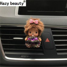 Hazy beauty Lovely handmade diamond bow Kiki Air Freshener Automobile styling Air conditioning outlet perfume Parfum De Voiture(China)