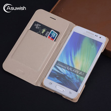 Asuwish Flip Cover Leather Case Samsung Galaxy A3 2015 3 SM A300 A300F A300H SM-A300F Phone Case Wallet Cover Card Holder