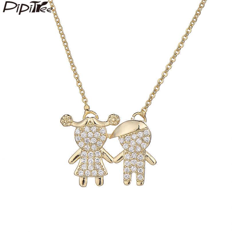 790c1a715670 Pipitree niño niña colgante gargantilla collar de Color oro de la familia  collares mujeres amantes claro