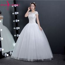 Buy Beauty-Emily Beads Cheap White Wedding Dresses 2017 Lace Ball Gown Short Sleeve Sweep Train Bridal Dresses Plus Size for $45.11 in AliExpress store
