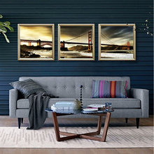 3 panels home deco wall decorative oil painting the bridge golden gate bridge print on canvas No Framed(China)