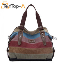 TenTop-A Rainbow Striped Canvas Shoulder Bag Women Casual Large Capacity Tote Female Fashion Splicing Washed Cloth Beach Handbag(China)