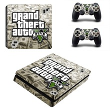 GTA 5 PS4 Slim Skin Stickers Wrap for Sony PlayStation 4 Slim Console and 2 Controllers Decorative Skins