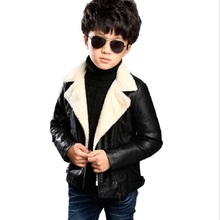 Children PU Leather Jacket Boys Autumn Winter Fur Leather Coat Girls Spring Jacket Children Solid Casual Warm Outerwear 3T-12T(China)