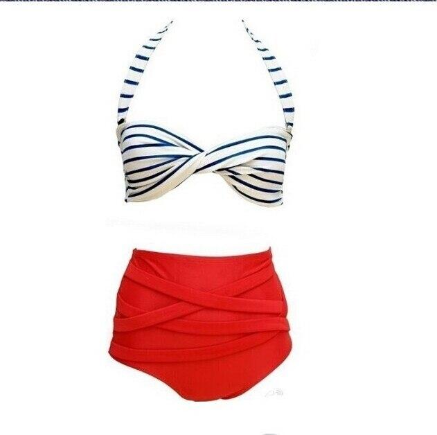 New arrival Promotional Sexy Retro Pinup Rockabilly Vintage High Waist Bikini Swimsuit Swimwear S-XLsuper discount<br><br>Aliexpress
