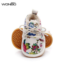 2017 Winter New Print Flower Crib Footwear Infant Shoes First Walkers Fleece Worm Snow Boots