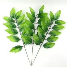50pcs wholesale Large Artificial Fake Palm Tree Leaves Green Plastic Leaf Wedding DIY Decoration Cheap Flowers Arrangement Plant