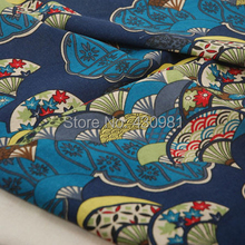 fans print fabric japan ethnic kimono dress fabric linen cotton material curtains table cover tissue tecido