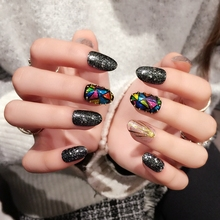 24pcs Classic Black Clear Silver Glitter Paillette Deco Fake Nails Colorful Triangle Gold Stripe False Nail Tips Z372