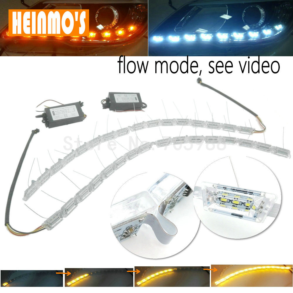 High power flexible Crystal Flowing vinstar led DRL day light led daytime running light turn light white/amber DC12V(China (Mainland))