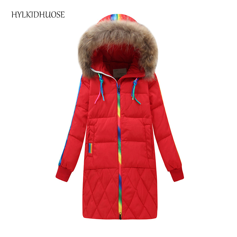 HYLKIDHUOSE 2017 Winter Baby Girls Down Coats Rainbow Color Children Outdoor Jackets Warm Thick Windproof Kids Outerwear ParkasÎäåæäà è àêñåññóàðû<br><br>