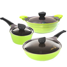 Free Shipping Top Quality 6 piece Of Green Non-Stick Coating Ceramic Cookware Set Without Oil Fume(China)