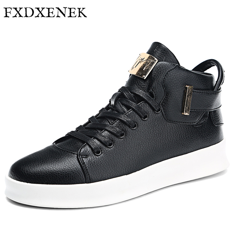 ZENVBNV New 2017 High Top Men Leather Shoes Fashion Men Winter Casual Shoes Autumn Mens Sneakers Breathable Flat Walking Shoes<br>