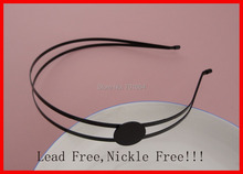 5PCS Black plain double 3mm Metal Wire Hair headbands with 20mm pad at nickle free and lead free DIY Hair Accessories wholesale