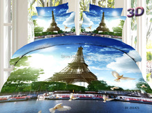 European popular eiffel tower bedding,4pc queen size eiffel tower duvet cover,european style bridge/ tower bedspreads,bed linen(China)