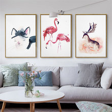 Cute Cat Red Red-crowned Crane Chinese Style Quiet Deer Huge Antlers Artisic Canvas Painting Picture Wall Posters Home Decor(China)