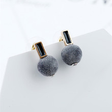 New Stud Earrings Mink Hair Imitation Rabbit Hair Ball Earring Fashion Long Earrings For Women Girls Jewelry E334