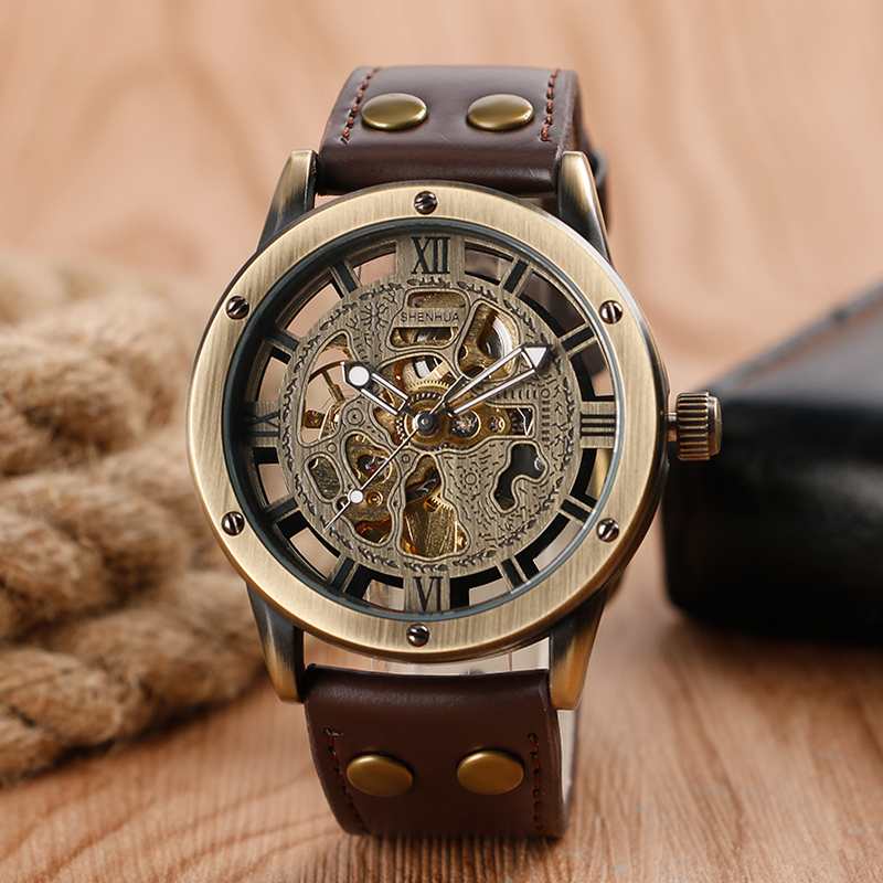 Luxury Skeleton Classic Analog Leather Strap Band Stainless Steel Self-Wind Mechanical Automatic Business Men Bangle Wrist Watch<br><br>Aliexpress