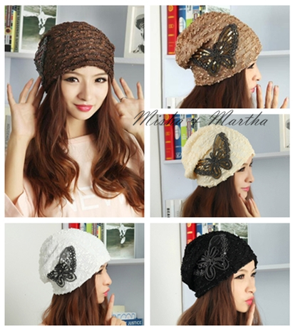 High Quality Fashion Spring Autumn Lace beading Butterfly Pile cap Women Beanies Knitted gorros Hip-Pop Skullies bonnet HatОдежда и ак�е��уары<br><br><br>Aliexpress