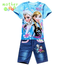 Retail New 2017 Boys Summer Clothing Sets Children Cartoon Cotton Short Sleeve T Shirt+ Jeans 2pcs Suit Kids Clothes In stock(China)