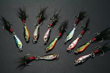 2015 river multi lead bait fishing lure carp 16pcs mini lead fishing bass walleye jigs feather hook (lb003) 6g 2.5cm