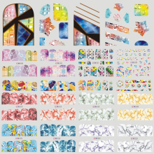 1 Sheet Gradient Marble Pattern Nail Art Water Transfer Stickers Nail Tips Decals Beauty Wraps Manicure Decor Tools LABN613-636