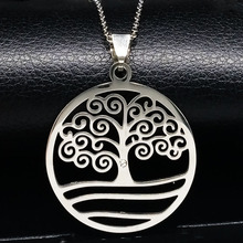 Tree of Life Stainless Steel Pendants Necklaces Silver Color statement necklace Women And Men Jewelry acero inoxidable N16811