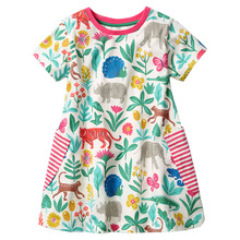 Summer Girls Dresses Children's Clothing Print Animals Cotton Dress Kids Clothes Pocket Flowers 2017 A-Line Baby Girl Dress(China)