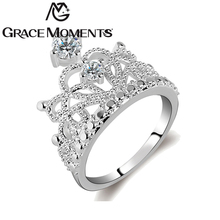 Grace Moments Fashion Princess Tiara Ring Crystal Finger Rings Women Wedding Engagement Ring Jewelry S925 Marked Model Show Ring